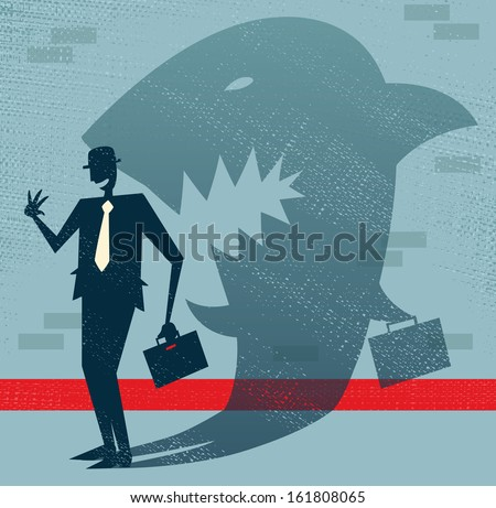 abstract businessman is a shark