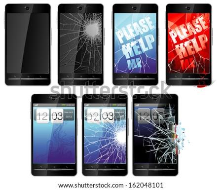 vector broken smartphones