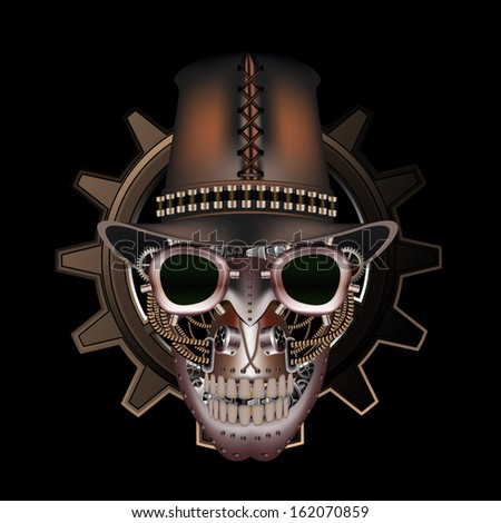 steampunk skull wearing top hat