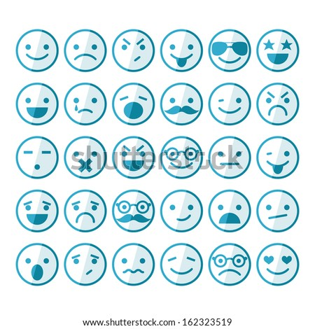 set of smileys in different