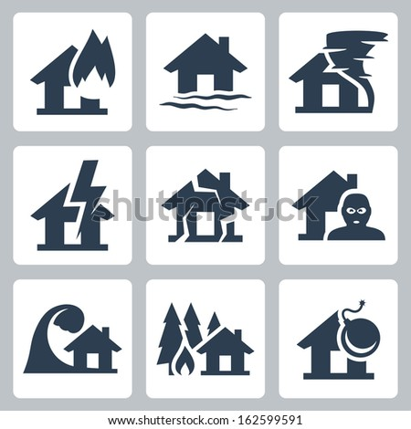 vector property insurance icons