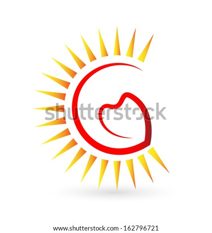 heart and sun icon vector