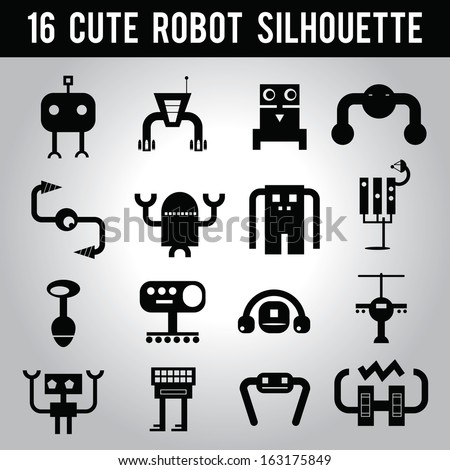 16 cute robot black silhouette