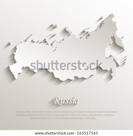 russia map card paper 3d