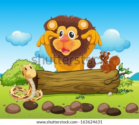illustration of a scary lion  a