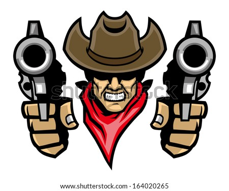 cowboy mascot aiming the guns
