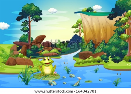 illustration of a frog playing