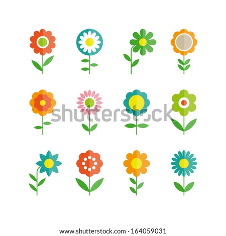 flowers vector design set of