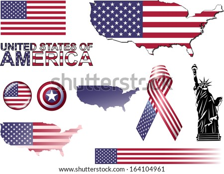 usa icons set of vector