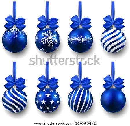 blue christmas balls on gift