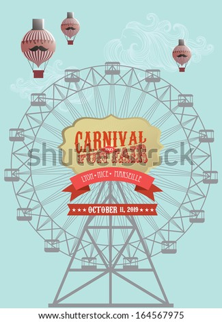 ferris wheel template vector