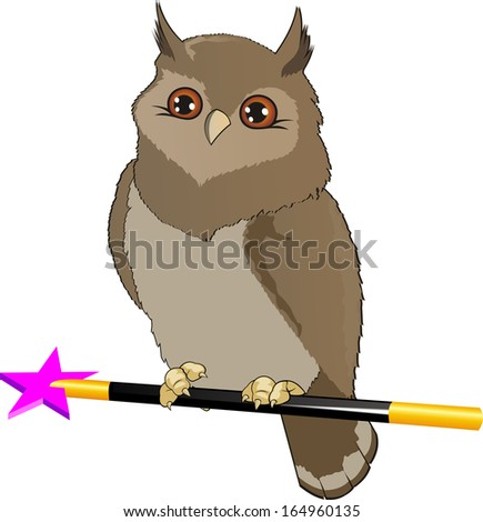 owl with a magic wand