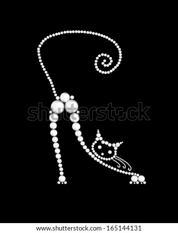 cat made from white pearls on