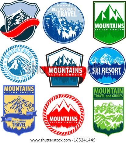 set of vector mountains emblems