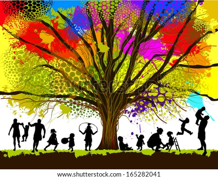 childhood colorful tree vector