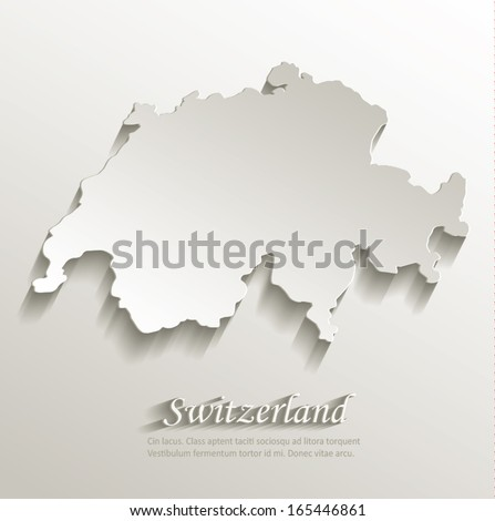 switzerland map card paper 3d