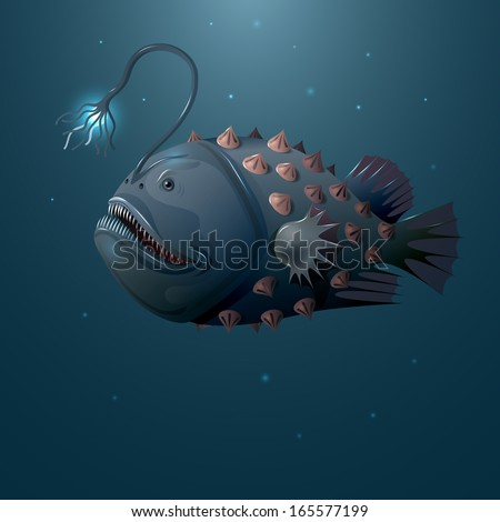 deep water angler on dark