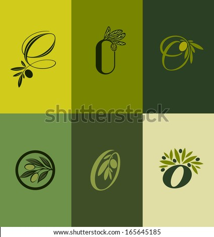 olive tree branch set of labels