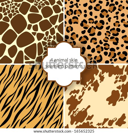4 animal skin seamless patterns