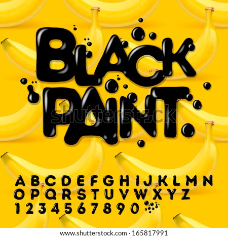 black paint alphabet and