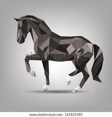 vector symbol of black horse