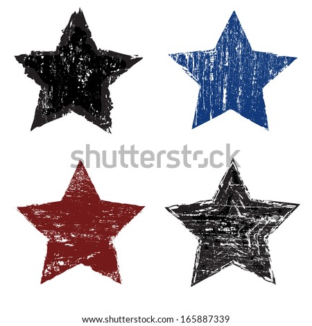 set of grunge star on white