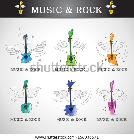 music and rock icons set