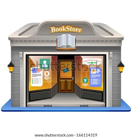 Cartoon bookshop Free Vector / 4Vector