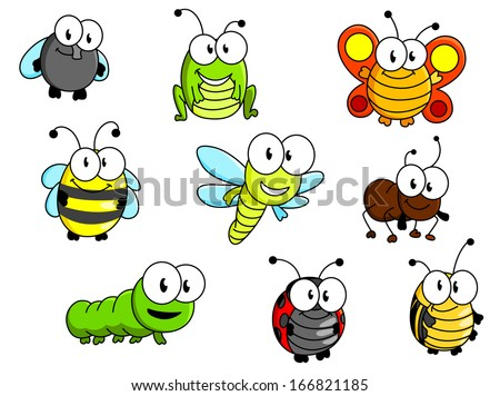 cartoon insects set isolated on
