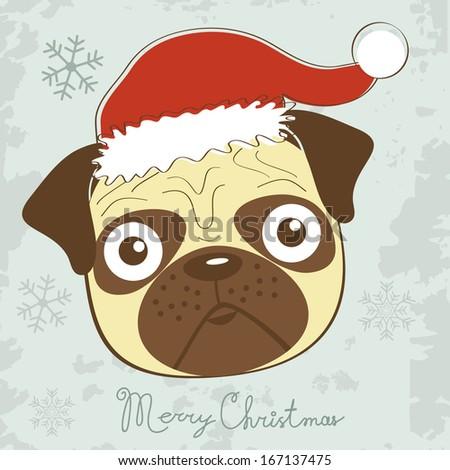 cute christmas pug