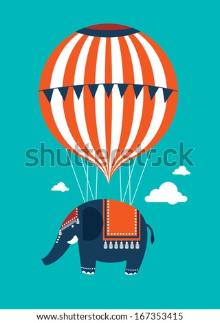 hot air balloon elephant vector