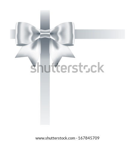 silver bow with ribbons