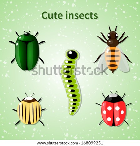 set of cute colorful vector