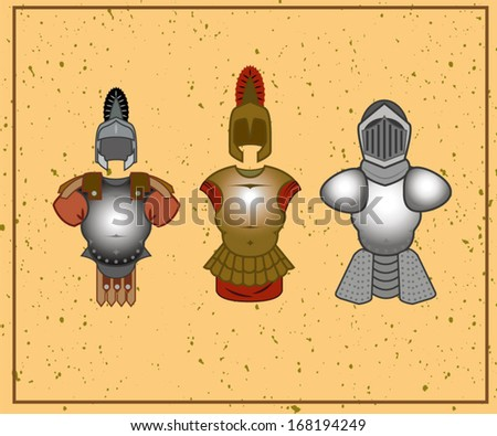 a set of ancient warrior armor