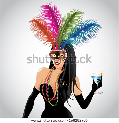 mardi gras girl eps 10 vector