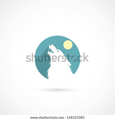 howling wolf sign   vector
