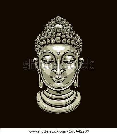 vector buddha head isolated on