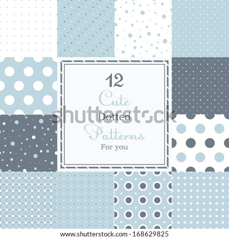 12 cute different dotted vector