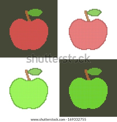four apples made from dots