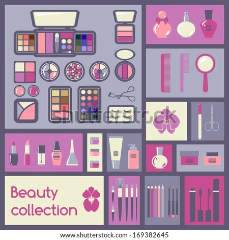 set of cosmetics icons makeup