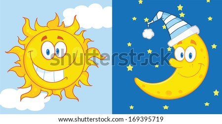 sun and moon cartoon mascot
