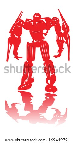 silhouette of warrior robots