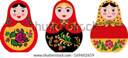 set of 3 cute russian dolls