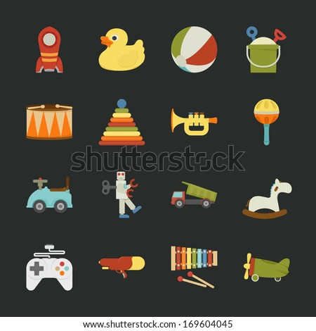 toy icons   flat design   eps10