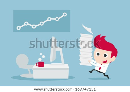 businessman happy in job  vector