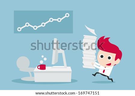 businessman happy in job  vector