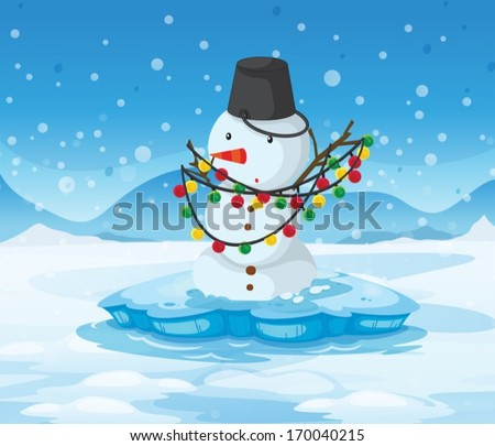 illustration of a snowman above