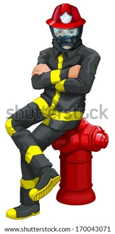 illustration of a fireman