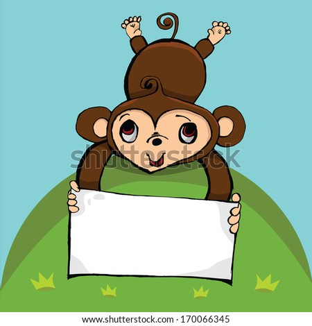 cute monkey cartoon with blank