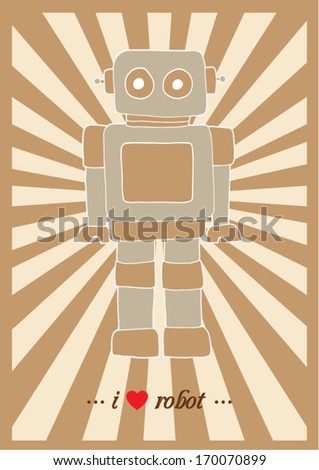 i love robot poster template